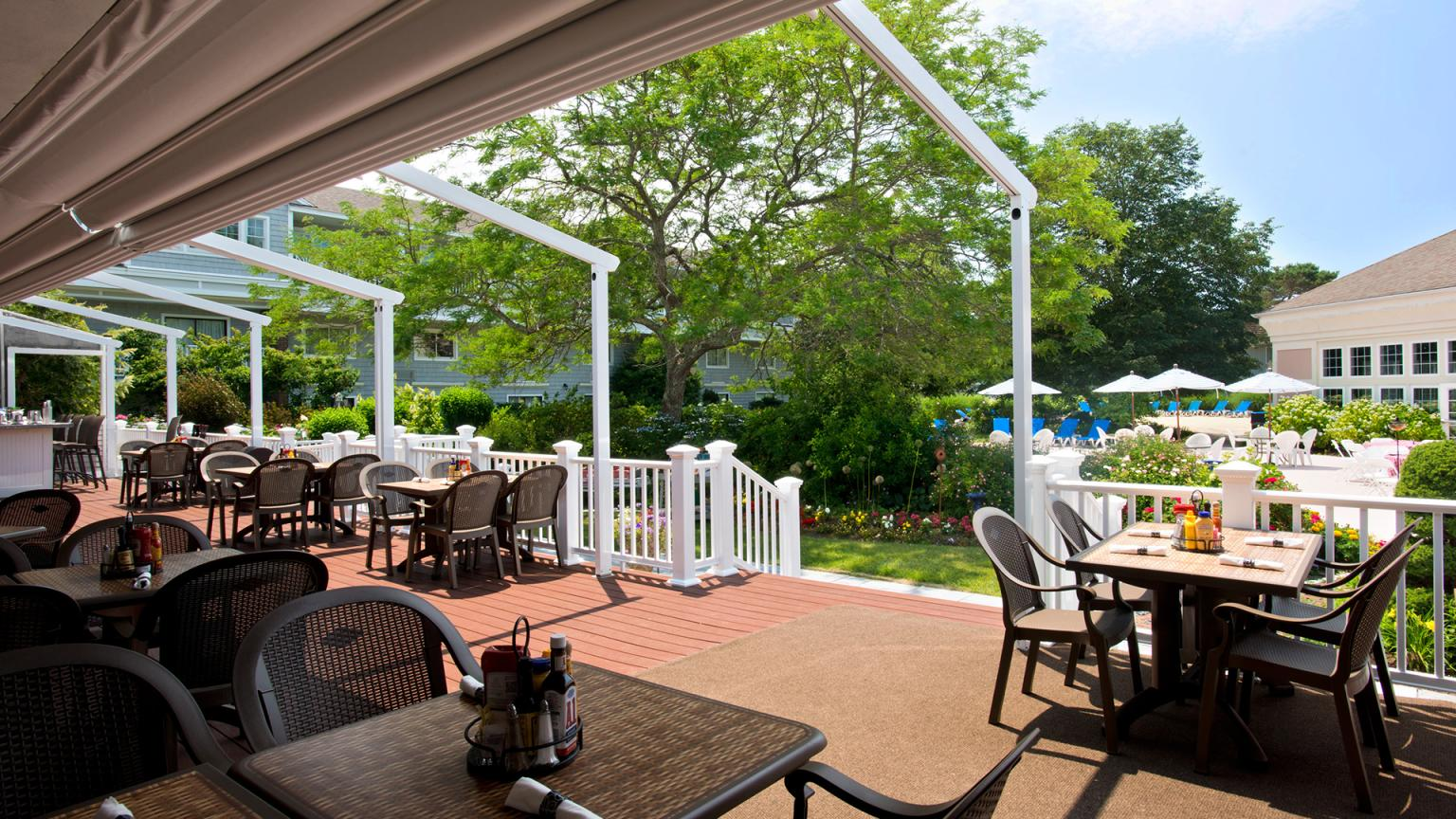 Outdoor dining and entertainment on the Deck