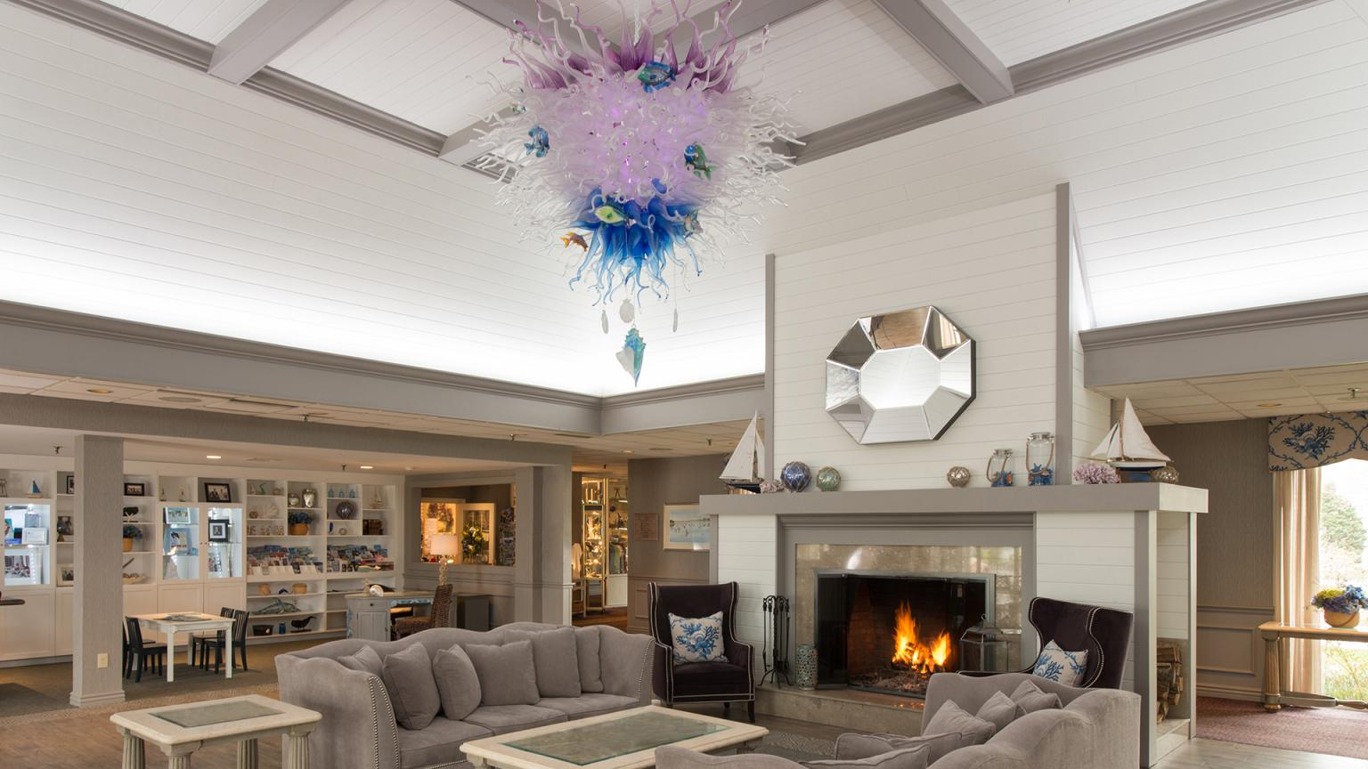 Cape Codder Lobby with one-of-a-kind Chandelier artwork
