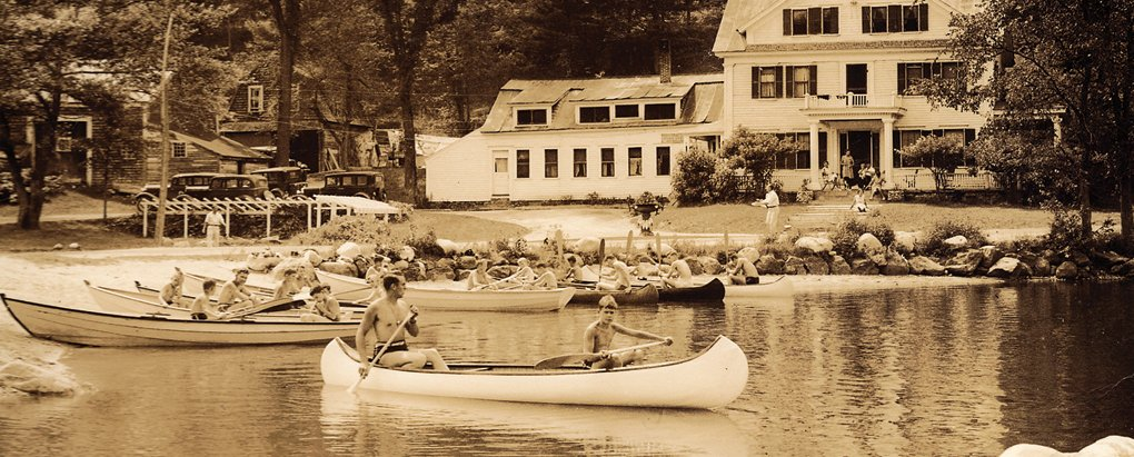 Vintage canoeing at Purity Springs Resort