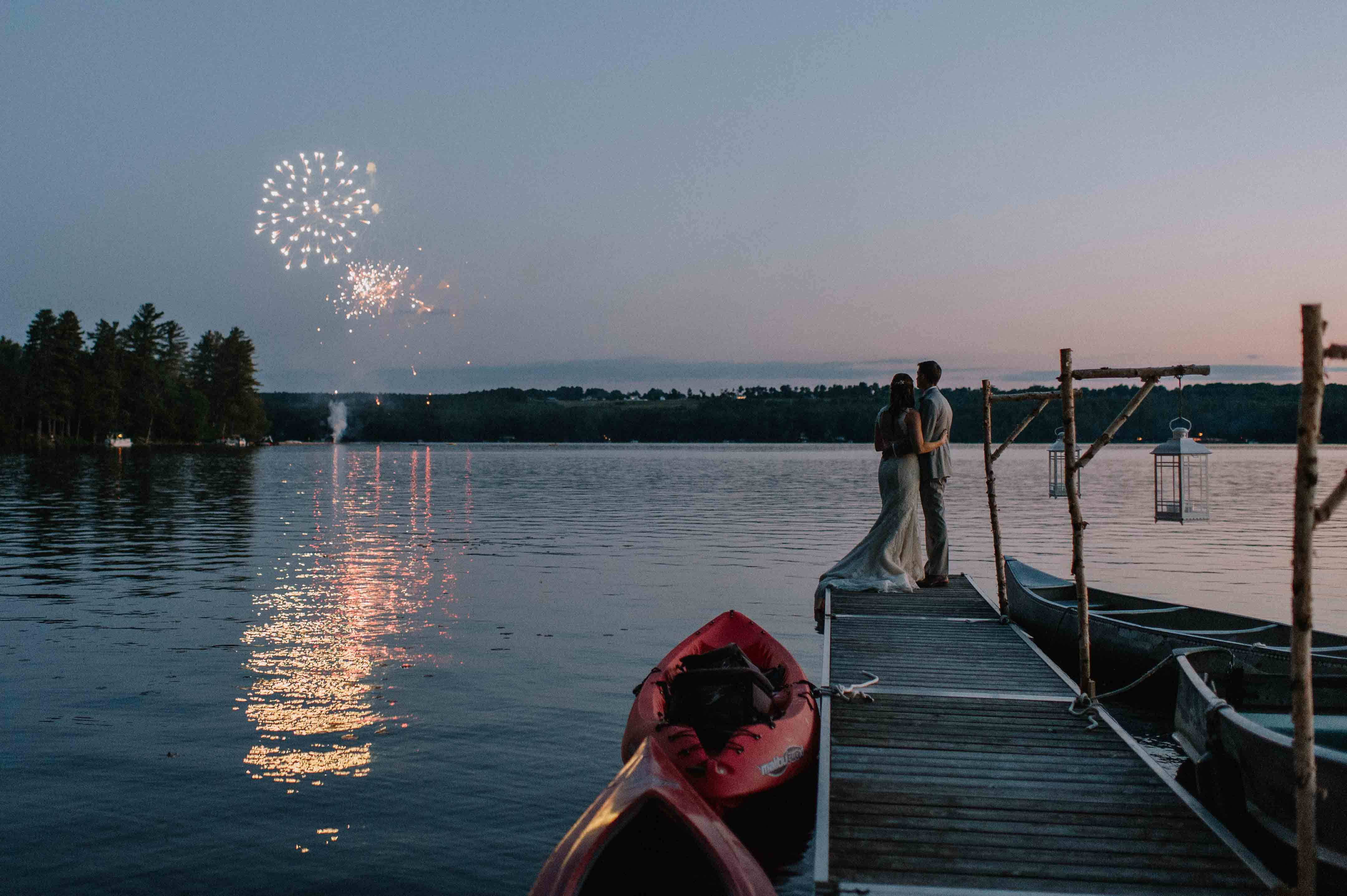 Fireworks overhead during a wedding at Wolf Cove Inn, at a New England-style elopement.