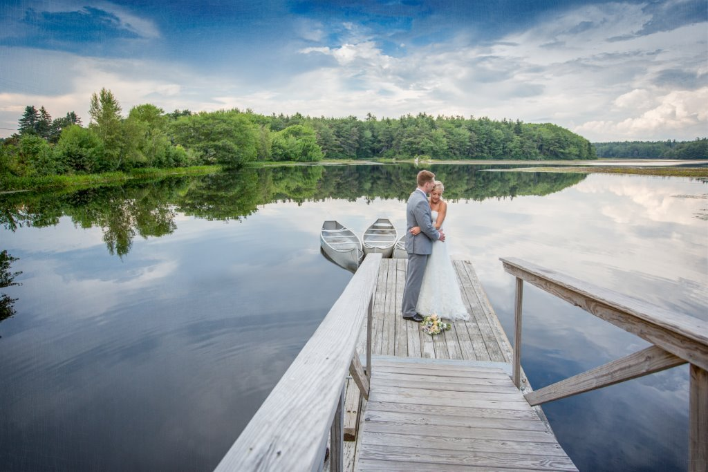Wedding by the pond at Sebasco Harbor Resort, perfect for a New England elopement.